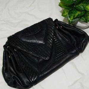 VTG 80s Andre Cellini Leather Snake Geometric Bag
